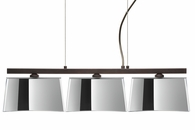 Groove Pendant 3 Light Linear Fixture shown in Bronze with Mirror-Frost Glass Shade by Besa Lighting