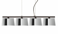 Groove Pendant 4 Light Linear Fixture shown in Bronze with Mirror-Frost Glass Shade by Besa Lighting