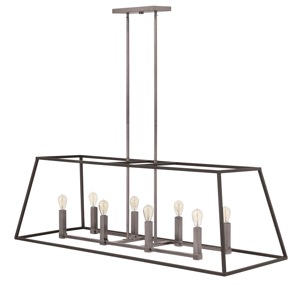 hinkley lighting 3338dz fulton 8 light rectangle foyer fixture in aged zinc
