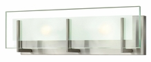 Hinkley Lighting (5652BN-LED) Latitude 2-Light LED Bathroom Vanity Fixture in Brushed Nickel with Clear Beveled Inside-Etched Shade