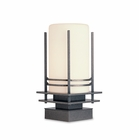 "Hubbardton Forge Outdoor pier mount with glass options: Banded aluminum with square collar (accepts 2.5""Sq post) Post sold separately."