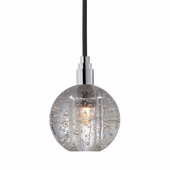 Hudson Valley Lighting (3506-001) Naples 1 Light Pendant shown in Polished Chrome with Black Cord