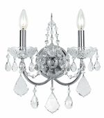 Imperial Collection 2 Light Sconces with Swarovski Spectra Crystals shown in Polished Chrome by Crystorama Lighting