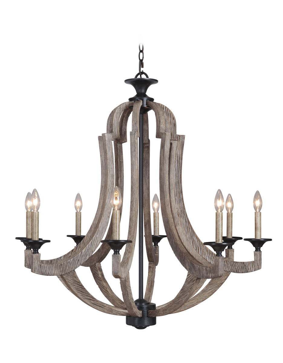 Lighting 35128WP Winton Chandelier in Weathered PineBronze – White Candle Chandelier
