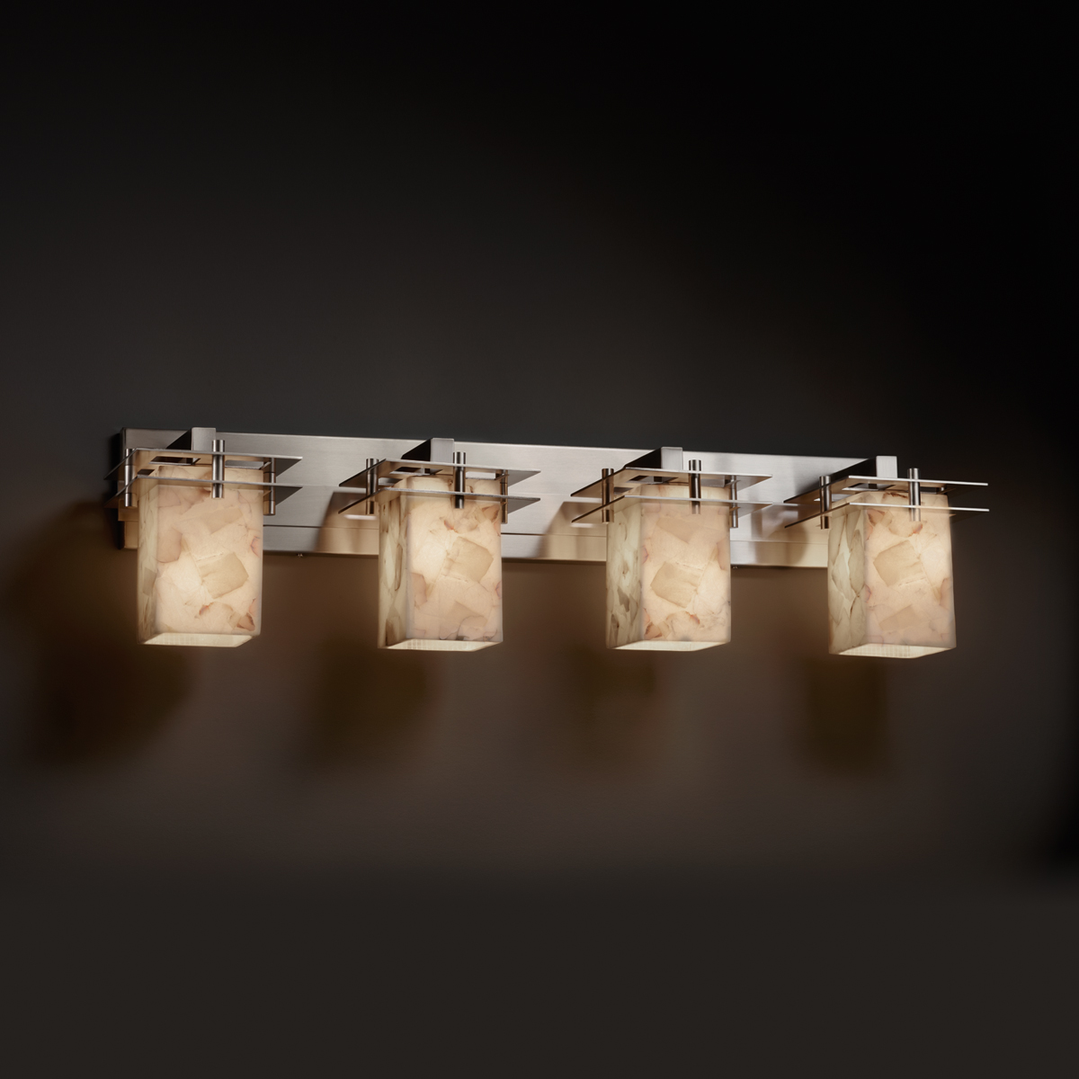 Justice Design (ALR-8174) Metropolis 4-Light Bath Bar from the Alabaster Rocks! Collection