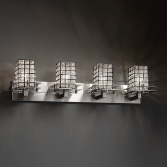 Justice Design (WGL-8174) Metropolis 4-Light Bath Bar from the Wire Glass Collection