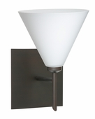 Kani 1 Light Wall Sconce Vanity shown in Bronze with Opal Matte Glass Shade by Besa Lighting