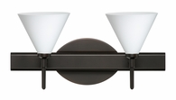 Kani 2 Light Wall Sconce Vanity shown in Bronze with Opal Matte Glass Shade by Besa Lighting