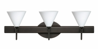 Kani 3 Light Wall Sconce Vanity shown in Bronze with Opal Matte Glass Shade by Besa Lighting
