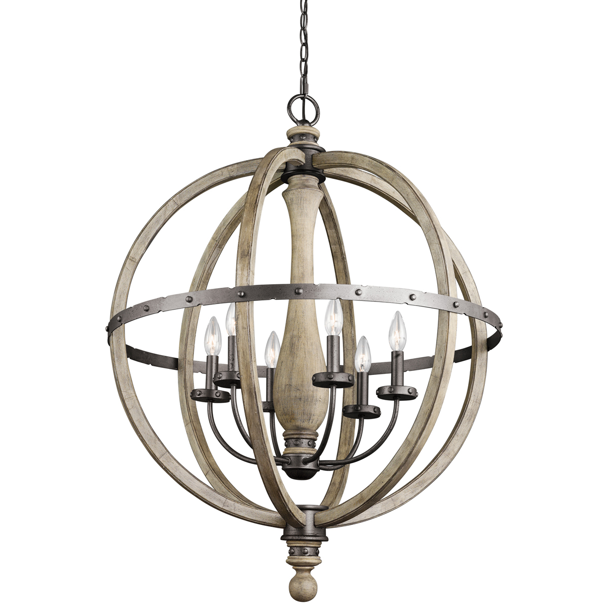 This Kichler Evan Single Tier Large 6 Light Chandelier 43327dag For