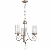 Lara Chandelier 3 Light shown in Classic Pewter by Kichler Lighting