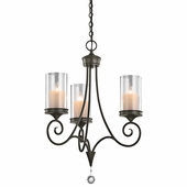 Lara Chandelier 3 Light shown in Shadow Bronze by Kichler Lighting