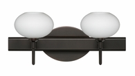 Lasso 2 Light Wall Sconce Vanity shown in Bronze with Opal Matte Glass Shade by Besa Lighting