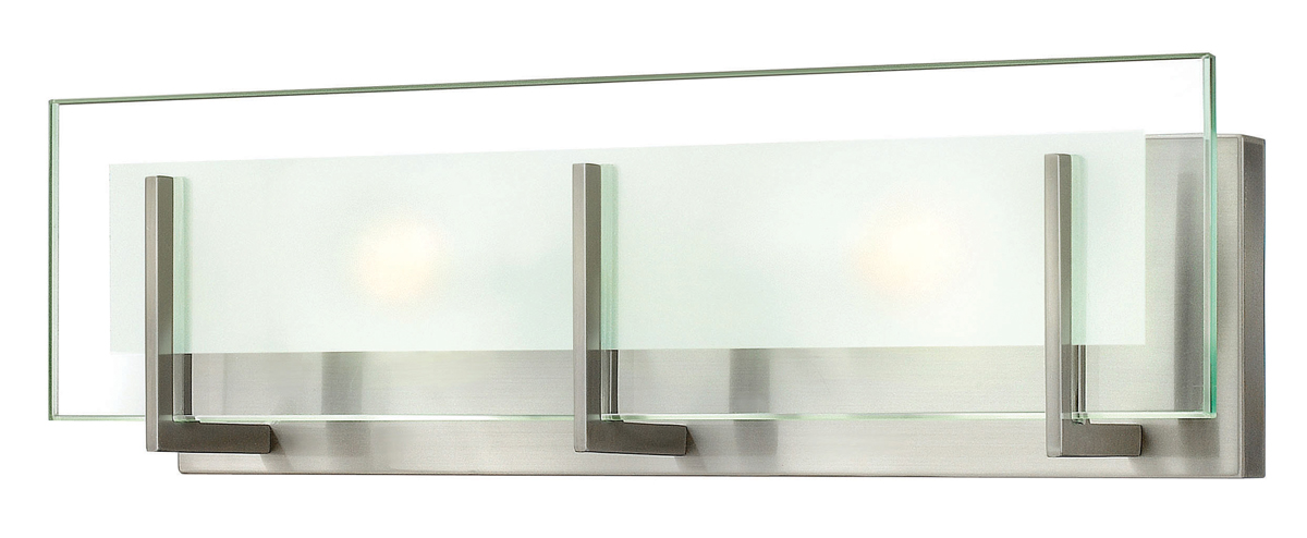 Hinkley Lighting (5652BN) Latitude 2-Light Bathroom Vanity Fixture in Brushed Nickel with Clear Beveled Inside-Etched Shade