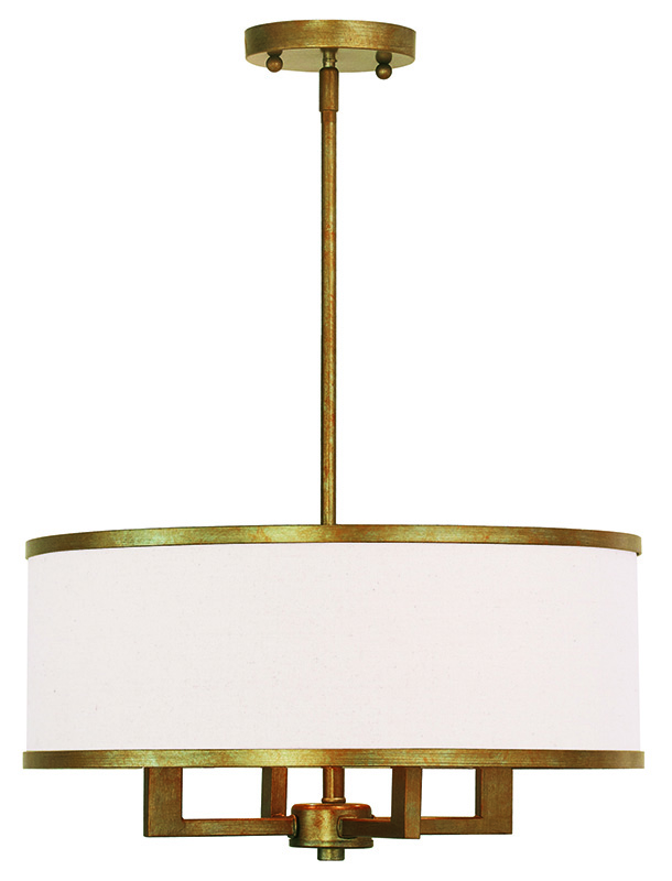 Livex Lighting Three Park Ridge Four Light Chandelier Shown In Hand Painted Antique Gold Leaf