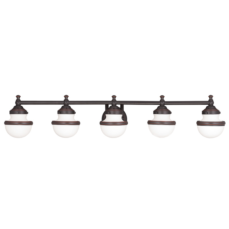 Livex Lighting 5715 Oldwick 5 Light Bathroom Vanity Fixture Shown In Olde B