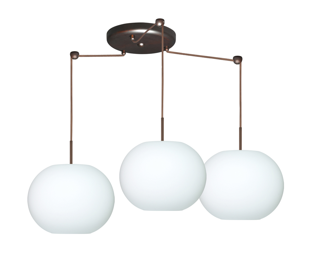 Luna Pendant 3 Light Round Cord Fixture Shown In Bronze