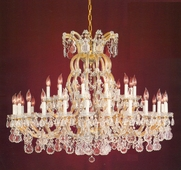 Maria Theresa Collection 37 Light Chandeliers with Clear Hand Cut Crystals shown in Gold by Crystorama Lighting