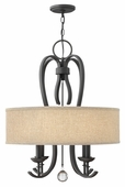 Hinkley Lighting (4474TB) Marion 4-Light Dinette Chandelier in Textured Black with Oatmeal Linen Shade