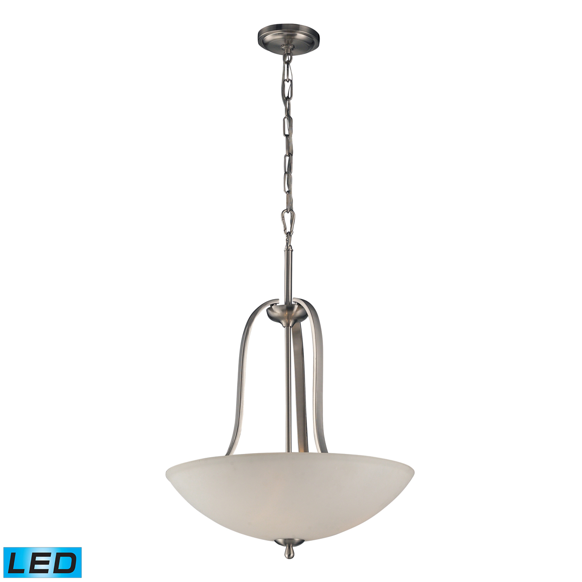 elk lighting 17142 3 led mayfield 3 light pendant in brushed nickel