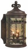 Exteriors by Craftmade (Z5014-91) Espana 2 Light Medium Wall Mount in Rustic Iron & Champagne Hammered Glass