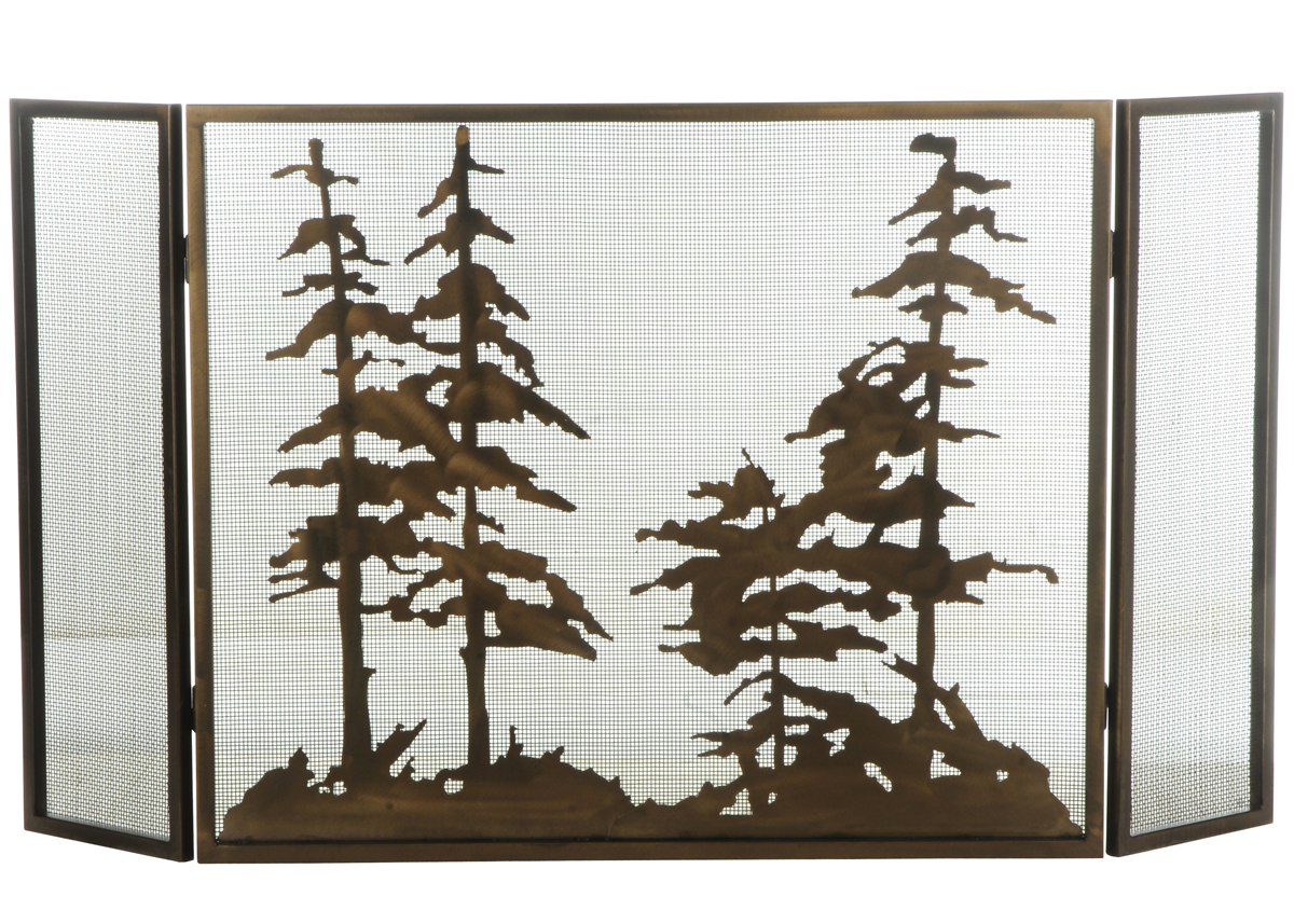 Meyda Tiffany (126060) 56 Inch Width X 30 Inch Height Tall Pines Folding Fireplace  Screen - Fire Screens- Stained Glass Decorative Fireplace Screens, Iron