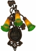 "Meyda Tiffany (17158) 10.5""W Amber/Green Pond Lily 3 Light Wall Sconce"