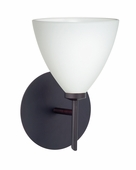 Mia 1 Light Wall Sconce Vanity shown in Bronze with Opal Matte Glass Shade by Besa Lighting