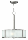 Hinkley Lighting (4972BN) Midtown 3-Light Chandelier in Brushed Nickel with Multi-Faceted Etched Shade