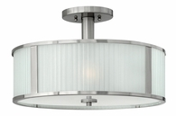 """Hinkley Lighting (4971BN) Midtown 18"""" Semi-Flush Mount in Brushed Nickel with Multi-Faceted Etched Shade"""