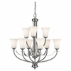 Murray Feiss Lighting (F2253/6+3BS) Barrington 9 Light Multi-Tier Chandelier shown in Brushed Steel Finish