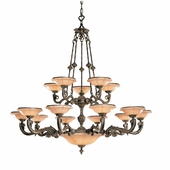 Natural Alabaster Collection 20 Light Chandeliers shown in Bronze by Crystorama Lighting