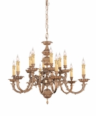 Oxford Collection 12 Light Chandeliers shown in Olde Brass by Crystorama Lighting