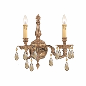 Oxford Collection 2 Light Sconces shown in Olde Brass by Crystorama Lighting