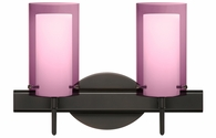 Pahu 4 2 Light Wall Sconce Vanity shown in Bronze with Transparent Amethyst/Opal Glass Shade by Besa Lighting