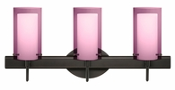 Pahu 4 3 Light Wall Sconce Vanity shown in Bronze with Transparent Amethyst/Opal Glass Shade by Besa Lighting