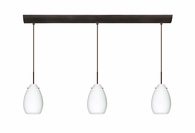 Pera 6 Pendant 3 Light Bar Cord Fixture shown in Bronze with Opal Matte Glass Shade by Besa Lighting