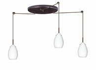 Pera 6 Pendant 3 Light Large Round Cord Fixture shown in Bronze with Opal Matte Glass Shade by Besa Lighting
