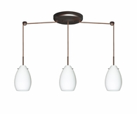 Pera 6 Pendant 3 Light Linear Cord Fixture shown in Bronze with Opal Matte Glass Shade by Besa Lighting