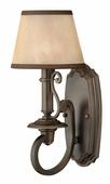 Hinkley Lighting (4240OB) Plymouth Single Light Wall Sconce in Olde Bronze with Light Amber Organza with Decorative Fabric Trim Shade