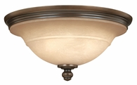 """Hinkley Lighting (4241OB) Plymouth 17.5"""" Flush Mount in Olde Bronze with Mocha-Colored Shade"""