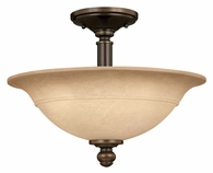 """Hinkley Lighting (4242OB) Plymouth 16"""" Semi-Flush Mount in Olde Bronze with Mocha-Colored Shade"""