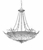 Primrose Collection 6 Light Chandeliers with Swarovski Spectra Crystal Beads Crystals shown in Silver Leaf by Crystorama Lighting