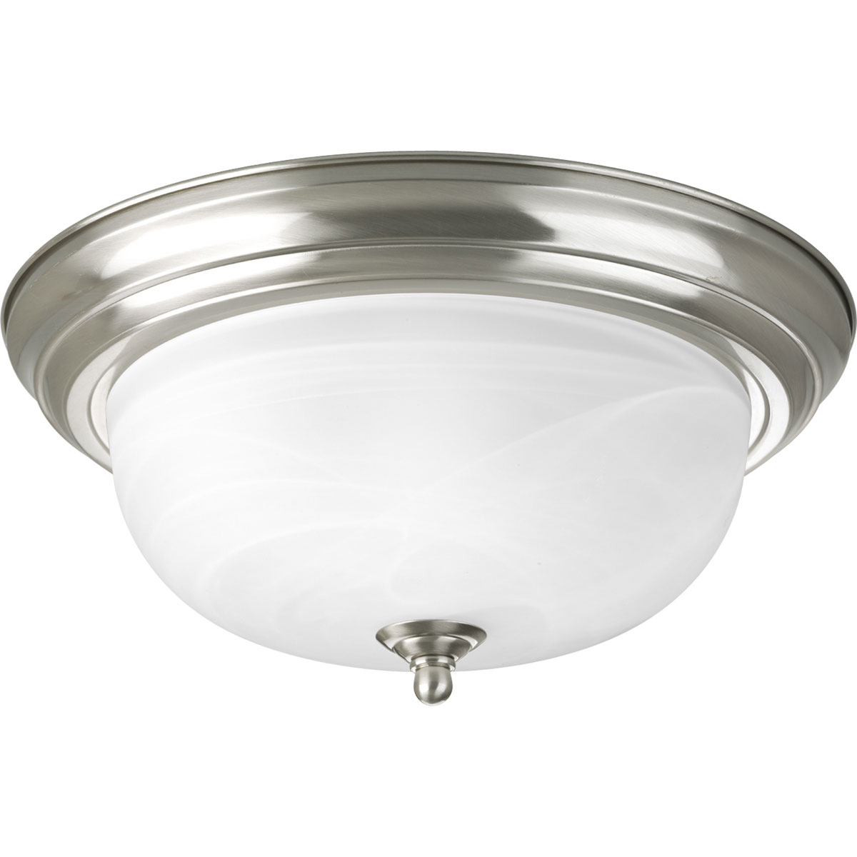 Progress Lighting (P3925-09) Alabaster 2 Light Flush Mount in Brushed Nickel