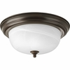 Progress Lighting (P3925-20) Alabaster 2 Light Flush Mount in Antique Bronze