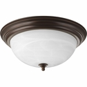 Progress Lighting (P3926-20) Alabaster 3 Light Flush Mount in Antique Bronze