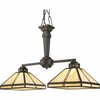 Progress Lighting (P4100-46) Arts and Crafts 2 Light Chandelier in Weathered Bronze