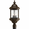 Progress Lighting Ashmore Collection (P5450-20) Traditional/Casual 3 Light Outdoor Post Lantern shown in Antique Bronze with Water Seeded Glass