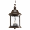 Progress Lighting Ashmore Collection (P5550-20) Traditional/Casual 3 Light Outdoor Hanging Lantern shown in Antique Bronze with Water Seeded Glass