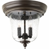 Progress Lighting Ashmore Collection (P5562-20) Traditional/Casual 2 Light Outdoor Close-To-Ceiling Fixture shown in Antique Bronze with Clear Seeded Glass